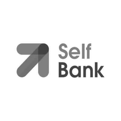 Logo Self Bank blanco y negro